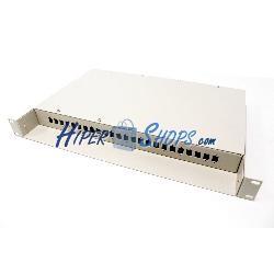 Patch Panel de fibra óptica 1U beige de 24 SC