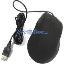 Ratón óptico USB ergonómico resistente al agua y negro