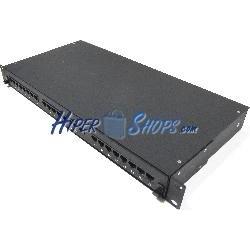 Patch panel de 24 RJ45 Cat.5e UTP 1U negro en cajón extraible