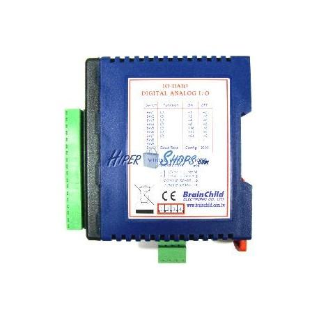 Módulo RS485 de 2 AI 1 AO 4 DI 2 DO y 2 RTD (BrainChild IO-DAIO)