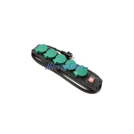 Regleta de enchufes IP44 para exterior 5 schuko 16A 250V con interruptor y cable de 1.5m