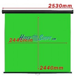 Pantalla cromakey verde 1:1 pared negra 2440x2440mm