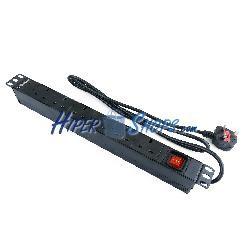 Regleta de enchufes rack 19'''' 6 BS1363 para UK con interruptor de RackMatic