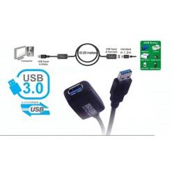 Cable extensión activo USB 3.0 A Macho a A Hembra - 10 m