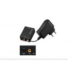 Conversor de audio digital Coaxial y Toslink a audio analógico 2x RCA
