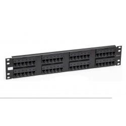 """Panel de transferencia 19"""" Cat.6 LSA 48 puertos negro - 2 U"""