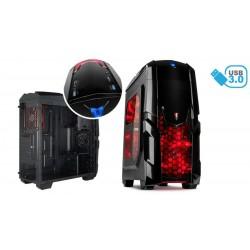 Caja ATX gaming iluminator 2xUSB 3.0 2xUSB 2.0 con lector de tarjetas - Rojo
