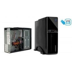 Caja mini-ITX/ATX 1xUSB 3.0, 1xUSB 2.0, lector tarjetas, fuente de alimentación 300W negra