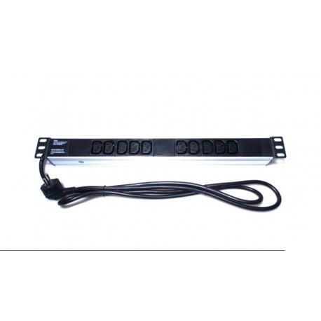 "Regleta 10 tomas IEC C13 para rack 19"" aluminio 2m"