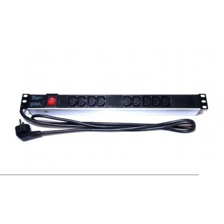 """Regleta 9 tomas IEC C13 para Rack 19"""" aluminio con interruptor 2m"""