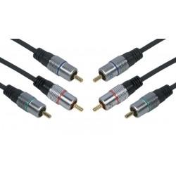 Cable de Conexión RCA 3 x M / 3 x M Gold