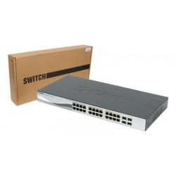 Switch 24 puertos D-Link Web Smart 10/100/1000 Mbps mini GBIC con gestión