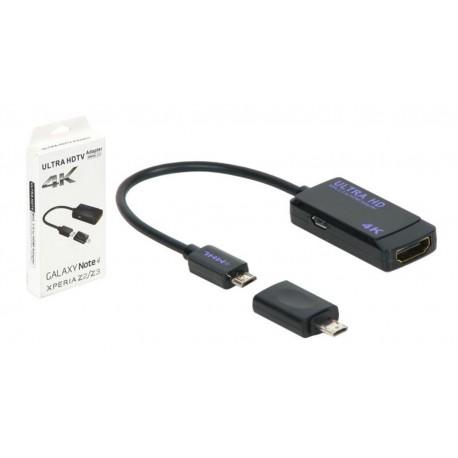 Cable adaptador MHL 3.0 a HDMI 4K negro 0.2m