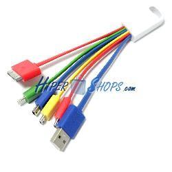 Cable cargador USB 5 en 1 miroUSB microUSB miniUSB lightning 30-pin