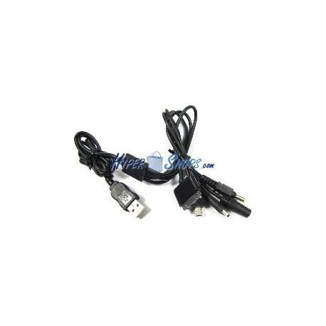 Cable cargador USB 5 en 1 (NDSi iPod PSP MiniUSB y DCJack 3.5)