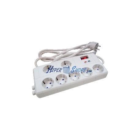 Regleta de enchufes 7 schuko con interruptor y protección sobretensiones (RJ11 + TV)