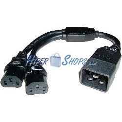 Cable de alimentación IEC-60320 2 C13 a 1 C20 de 20cm