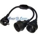 Cable de alimentación schuko 20cm SCHUKO-macho a 2xSCHUKO-hembra