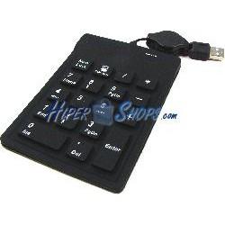 Teclado numérico industrial USB de 18 teclas con calculadora y negro