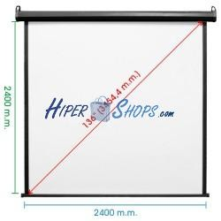 Pantalla de proyección motorizada pared negra de fibra de vidrio 2380x2440mm 1:1 DisplayMATIC PRO