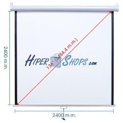 Pantalla de proyección de pared blanca 2380x2440mm 1:1 fibra de vidrio DisplayMATIC PRO
