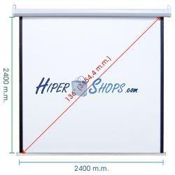 Pantalla de proyección motorizada pared blanca de fibra de vidrio 2380x2440mm 1:1 DisplayMATIC PRO