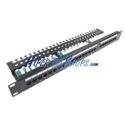Patch panel de 24 RJ45 Cat.5e UTP 1U negro con peine