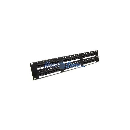 Patch panel de 48 RJ45 Cat.5e UTP 2U negro