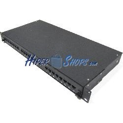 Patch panel de 24 RJ45 Cat.5e UTP 1U negro en cajón extraible