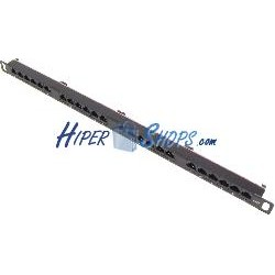 Patch panel 24 RJ45 Cat.6 UTP 0.5U metal con peine ordenacables