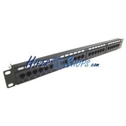 Patch panel 24 RJ45 Cat.6 UTP 1U negro con peine