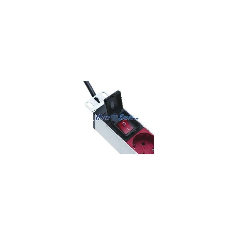 Regleta de enchufes rack 19 39 39 39 39 de 8 schuko rojo con for Regletas de enchufes