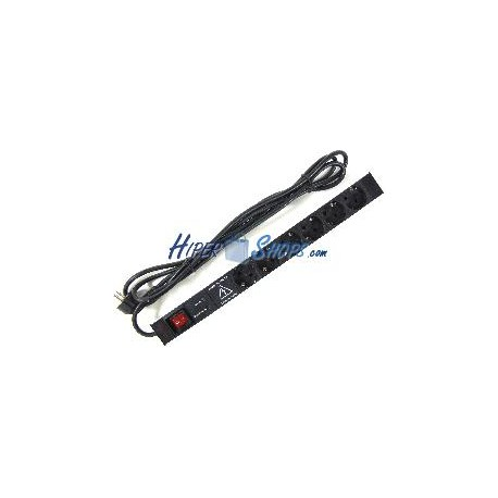 Regleta de enchufes rack 19'''' de 6 schuko con interruptor y protección sobretensiones de RackMatic