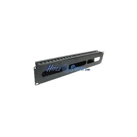 """Panel de gestión de cables para rack 19"""" de 2U con frontal metálico y fondo de 74mm"""