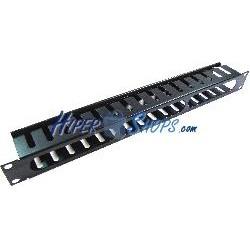 Panel de gestión de cables para rack19 de 1U metálico y fondo 68mm