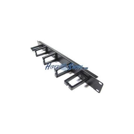 Panel guíacables para rack19 de 1U con 2+3 anillas de plástico