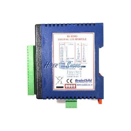 Módulo RS485 de 8 entradas y 8 salidas digitales (BrainChild IO-8DIO)