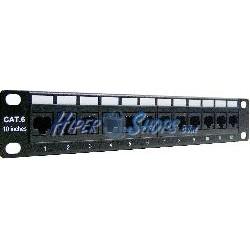 """Patch panel de 12 puertos RJ45 Categoria.6 UTP para rack 10"""" de 1U"""