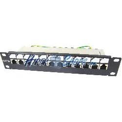 "RackMatic TENRack Patch-Panel 10"" 12-Port RJ45 Cat.5e FTP 1U"