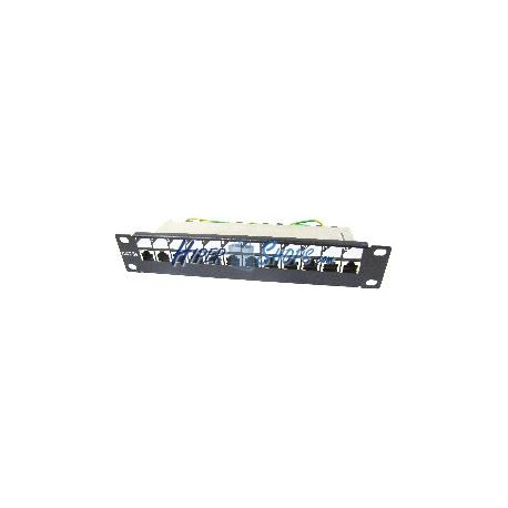 "RackMatic TENRack Patch-Panel 10"" 12-Port RJ45 Cat.5e FTP 1U"