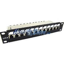 "RackMatic TENRack Patch-Panel 10"" 12-Port RJ45 Cat.6 FTP 1U"