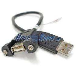 Cable USB 2.0 con contector para fijación a panel A-macho a A-hembra 50cm