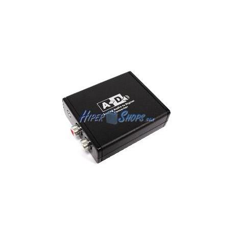 Conversor de audio analógico a digital con 2xRCA a toslink y coaxial