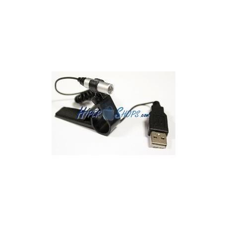 Linterna LED con conexión USB y pinza para ordenador portátil