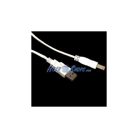 Cable USB 2.0 AB macho blanco 20cm