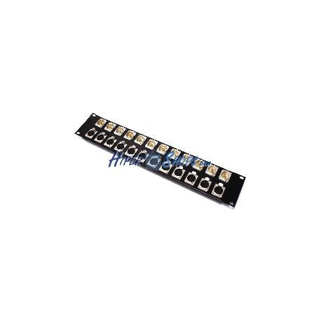 Patch panel rack19 12-port XLR3-hembra 12-port RCA-hembra 2U