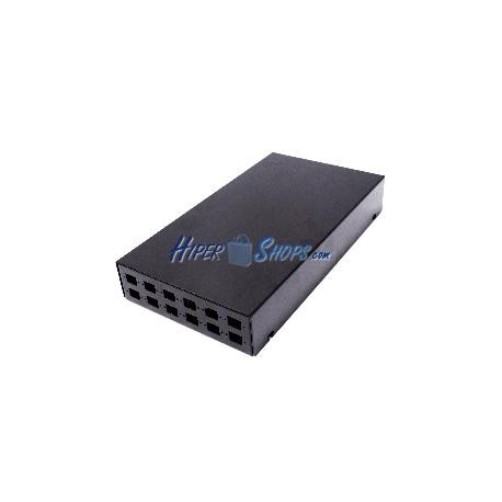Caja de terminales de fibra óptica metálica negro de 12 SC