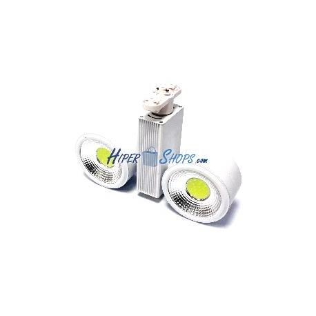 Foco LED de rail 24W blanco frio 114x62mm blanco dual