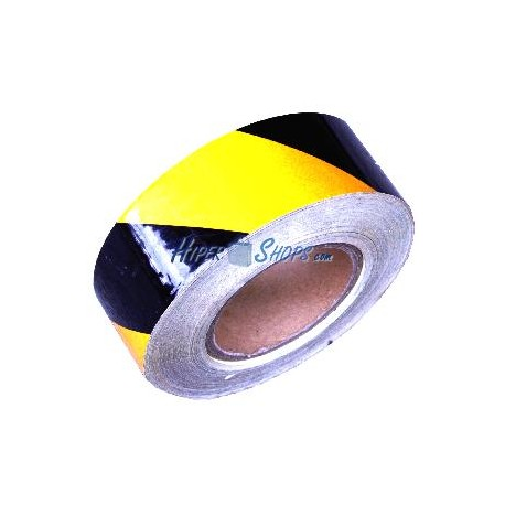 Cinta adhesiva reflectora para señalización de color amarillo negro 48m 5cm