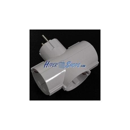 Multiplicador de clavija enchufe schuko triple de color blanco
